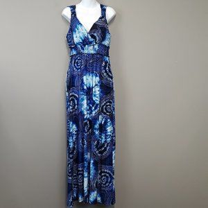 NWT ECI Blue White Tie Dye Halter Maxi Dress